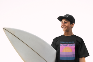Carnivore tee shirt on a surfer youth
